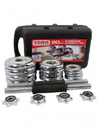 20 Kg Adjustable Chrome Dumbbell Set With Barbell Connector