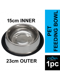 23cm Base Stainless Steel Pet Feeding Bowl with Anti-slip Rubber Base for Easy and Clean Feeding For Cats And Dogs