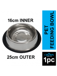 25cm Base Stainless Steel Pet Feeding Bowl with Anti-slip Rubber Base for Easy and Clean Feeding For Cats And Dogs