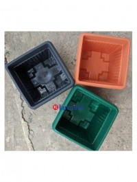 """Bagmati 8"""" Square Plastic Flower Pot / Gamala With Plate (Set Of 04) - Assorted Colors"""