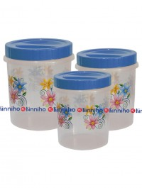 Bagmati Set Of 3 Blue Floral Small Plastic Containers