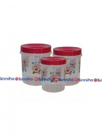 Bagmati Set Of 3 Red Floral Small Plastic Containers