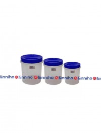 Bagmati Set Of 3 Small Plastic Containers- Blue