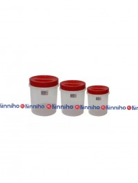 Bagmati Set Of 3 Small Plastic Containers- Red
