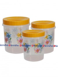 Bagmati Set Of 3 Yellow Floral Small Plastic Containers