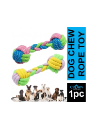Braided Dog Chew Toy Dumbell Ball Style Cotton Rope Pet Toy 7 Inches
