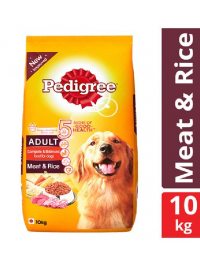 Pedigree Dry Dog Food - Meat & Rice, For Adult Dogs, 10 kg