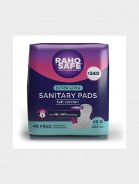 Raho Safe Sanitary Pad Extra Long with Biodegradable Disposable Bags – 40 Pads Count